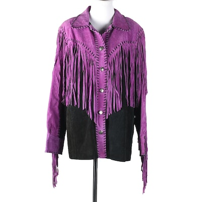 Bob Mackie Wearable Art Purple and Black Suede Leather Jacket with Fringe