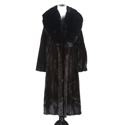 Luxurious Full Length Ranch Mink Fur Coat with Fox Fur Collar