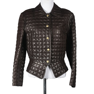 Gucci Brown Leather Quilted Jacket