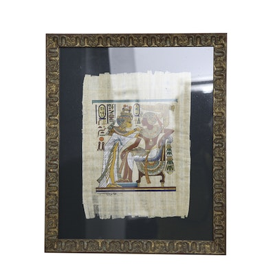 Ancient Egyptian Style Painting On Papyrus