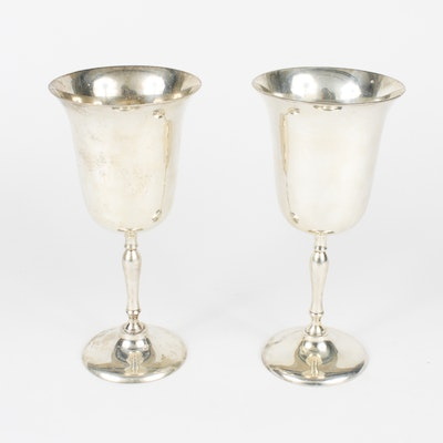 Pair of Silver Plated Water Goblets By Leonard Silver
