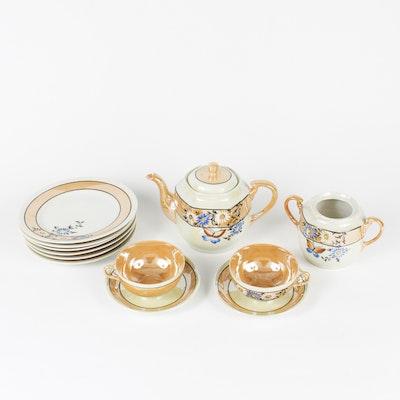 Vintage Japanese Hand Painted Lusterware Tea Set