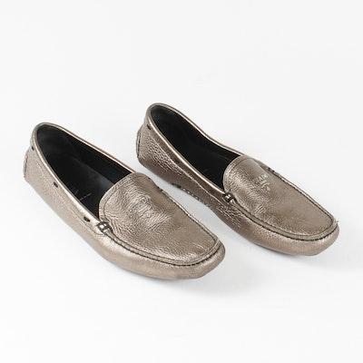 Women's Bronze Leather Prada Loafers