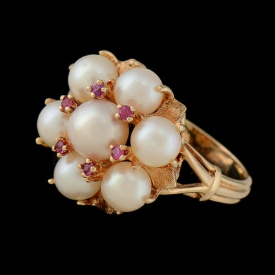14K Gold Pearl and Pink Sapphire Ring