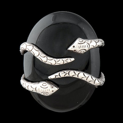 Large Black Onyx and Sterling Silver Statement Ring
