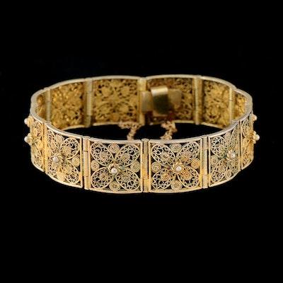 Vintage 800 Silver Filigree Bracelet with Gold Wash Finish