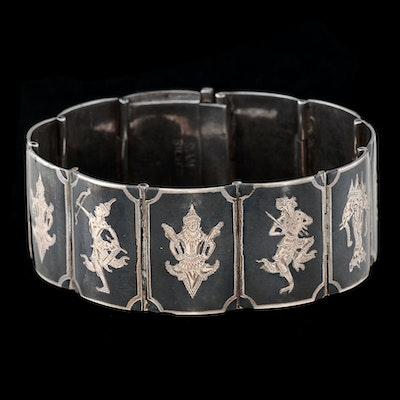 Siam Sterling Silver Nielloware Link Bracelet