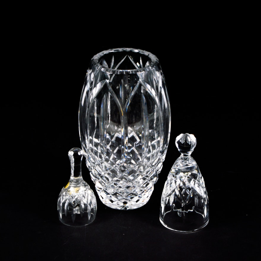 Waterford And Tyrone Crystal Bells With Vase Ebth