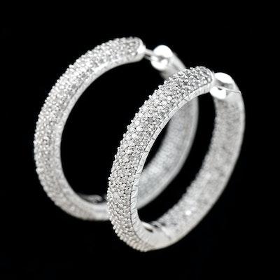 14K White Gold and Diamond Hoop Pierced Earrings