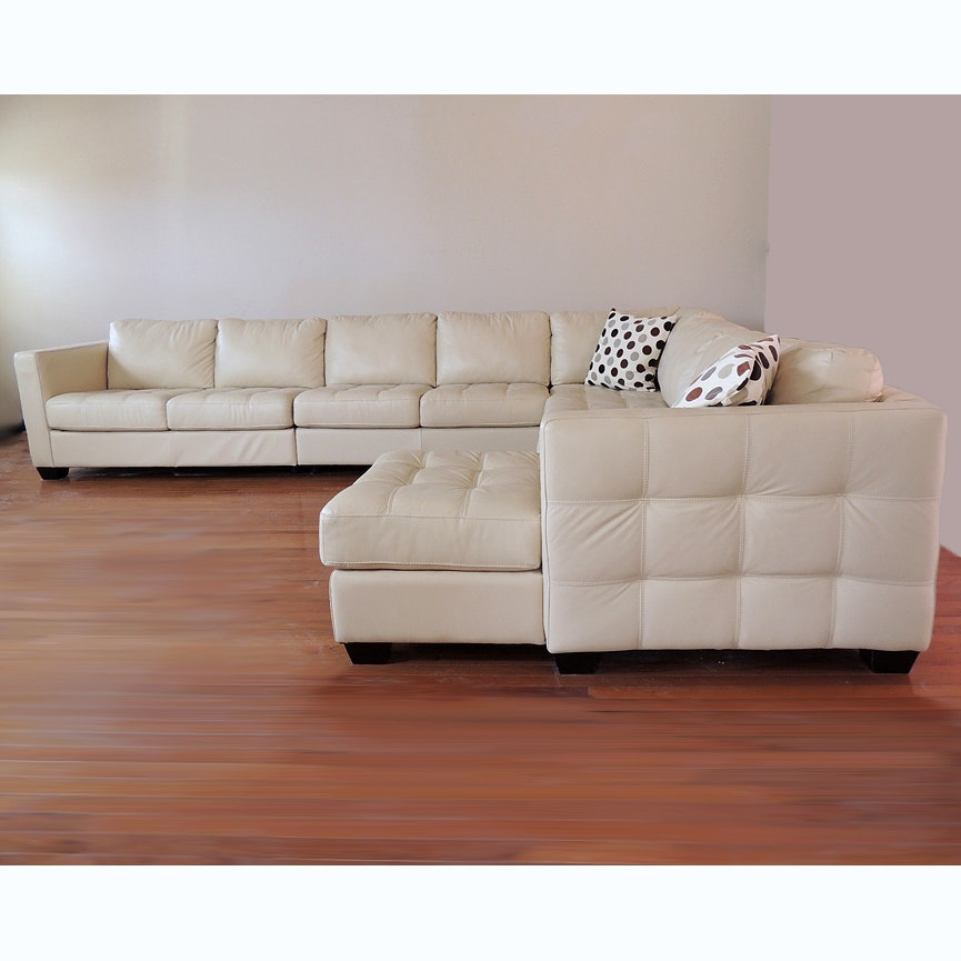The Benefits Of Having A White Leather Sectional: Five Piece White Leather Sectional Sofa : EBTH