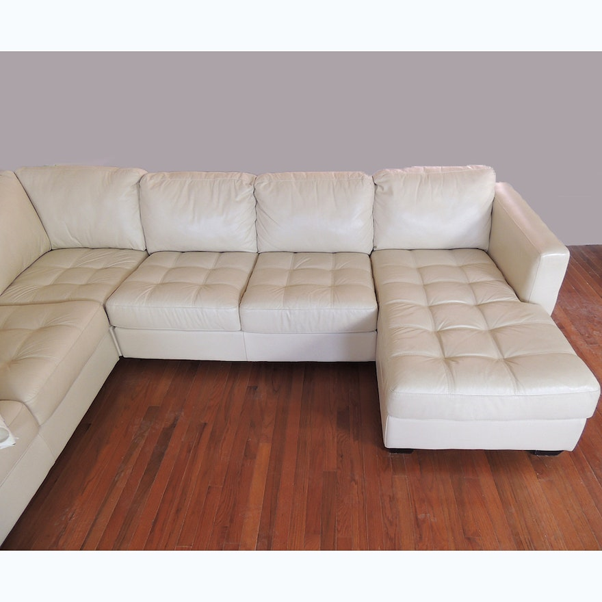 five piece white leather sectional sofa ebth. Black Bedroom Furniture Sets. Home Design Ideas