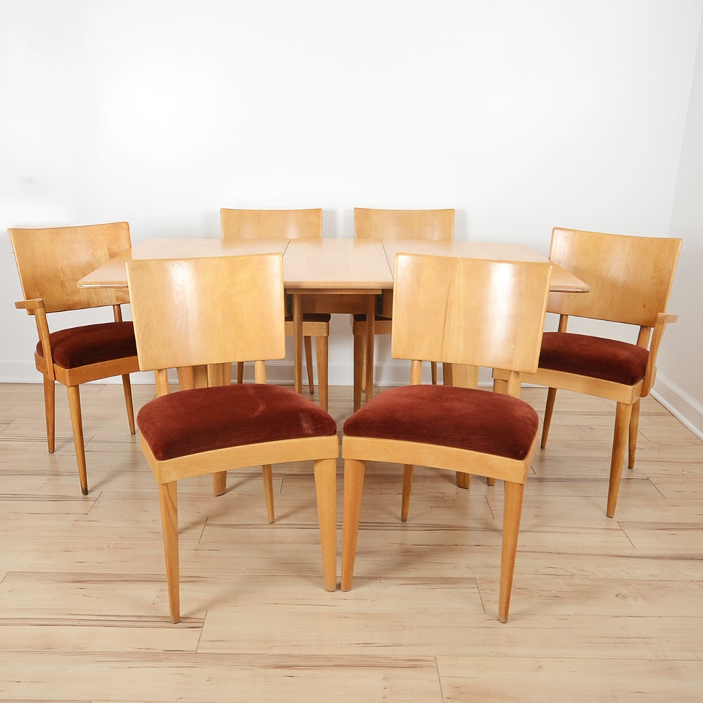 Mid century modern heywood wakefield gateleg dining table and chairs ebth - Gateleg table with chairs ...