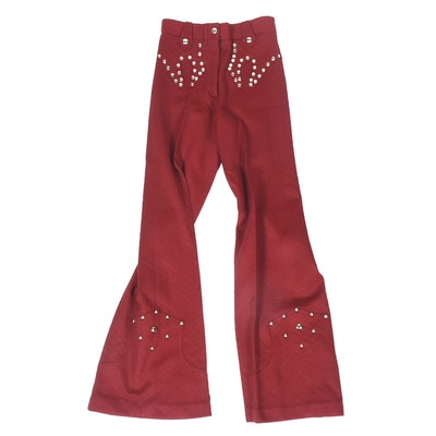 Pair of 1970s Vintage Nudie's Rodeo Tailor of North Hollywood Maroon Polyester Studded Pants