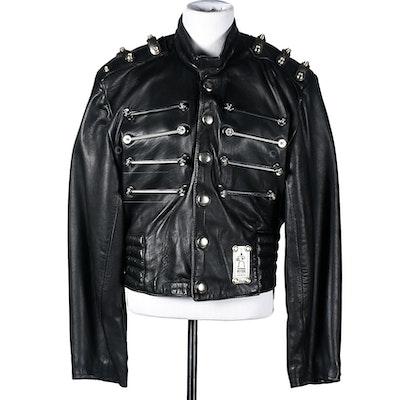 Hi-Tek Designs by Alexander Black Leather Motorcycle Jacket with Chrome Hardware