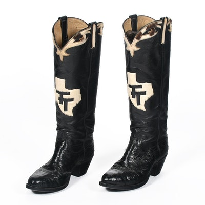 Custom-Made Black Ostrich Leather Cowgirl Boots with Tanya Tucker Monogram in the Shape of Texas