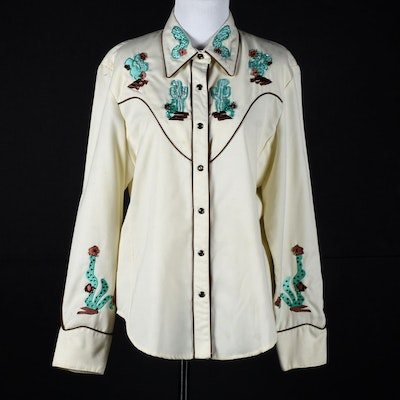 Scully Hand Embellished Western Dress Shirt with Embroidered Cactus