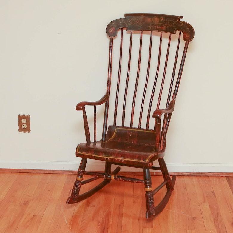 vintage rocking chair with swisstone music box ebth