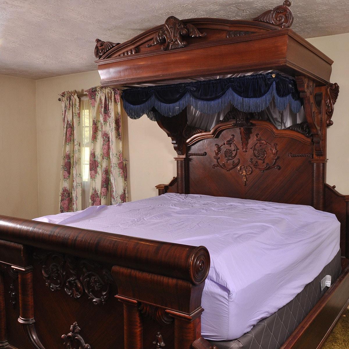 Antique Empire Mahogany Veneer King Size Canopy Bed ...