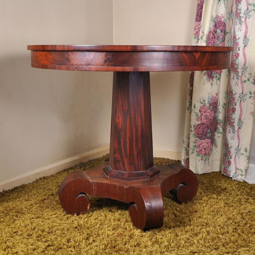 Antique Round Empire Mahogany Veneer Parlor Table Ebth
