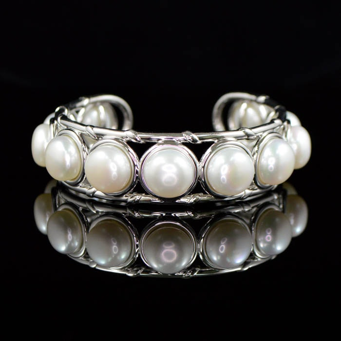 Robert Manse Sterling Silver and South Sea Freshwater Pearl Cuff Bracelet