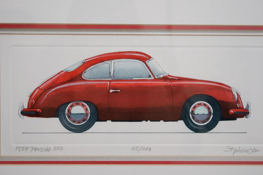 Signed Allan Stephenson Etching Quot 1954 Porsche 356 Quot Ebth
