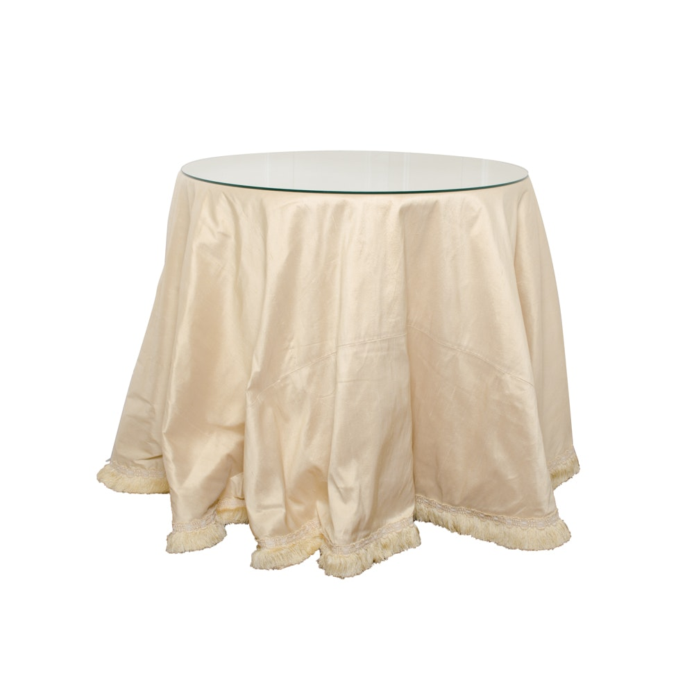 Round Decorators Table With Ribbed Silk Cover
