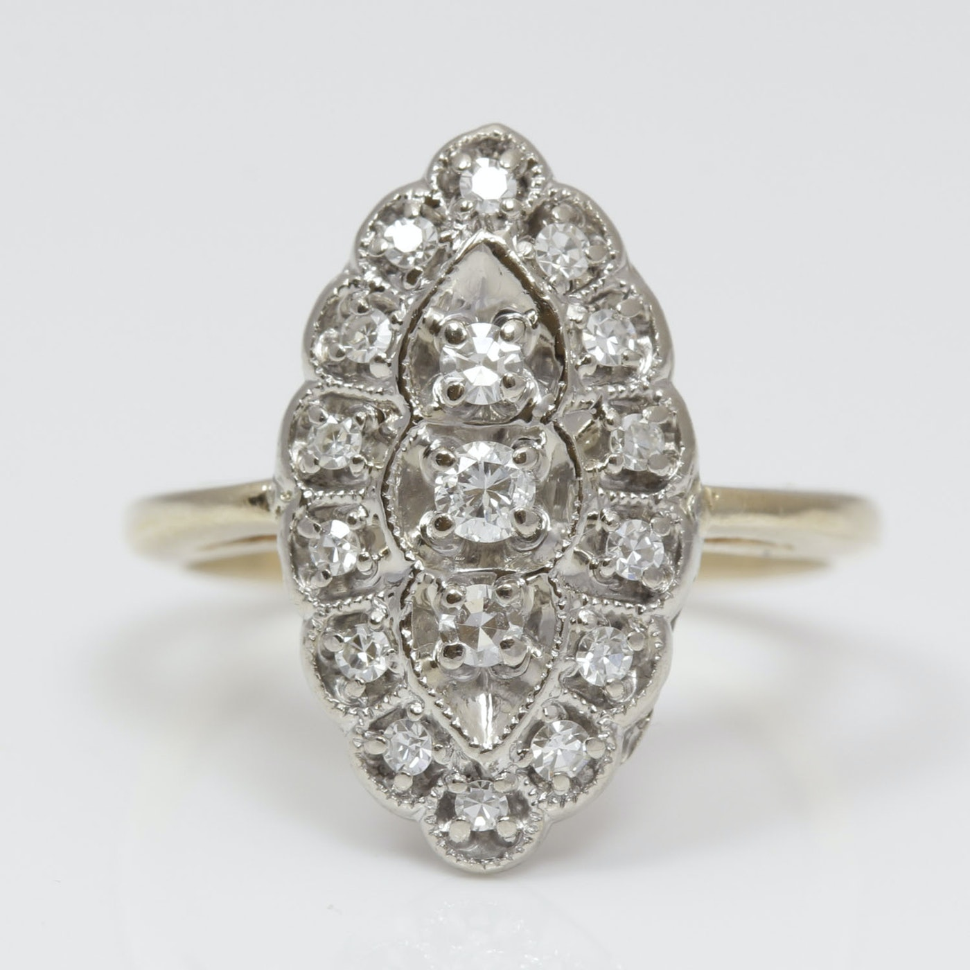 14k Two Tone Vintage Style Diamond Ring Ebth