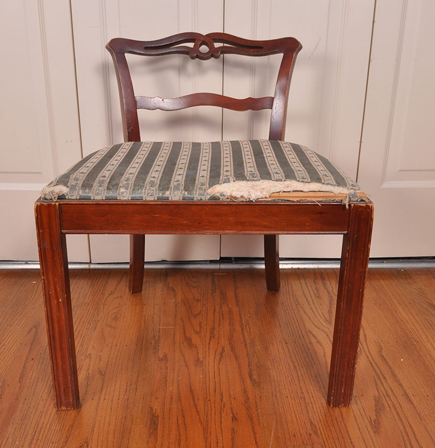 Vintage Knotted Low Back Vanity Chair  Vintage Knotted Low Back Vanity Chair   EBTH. Low Back Vanity Chair. Home Design Ideas