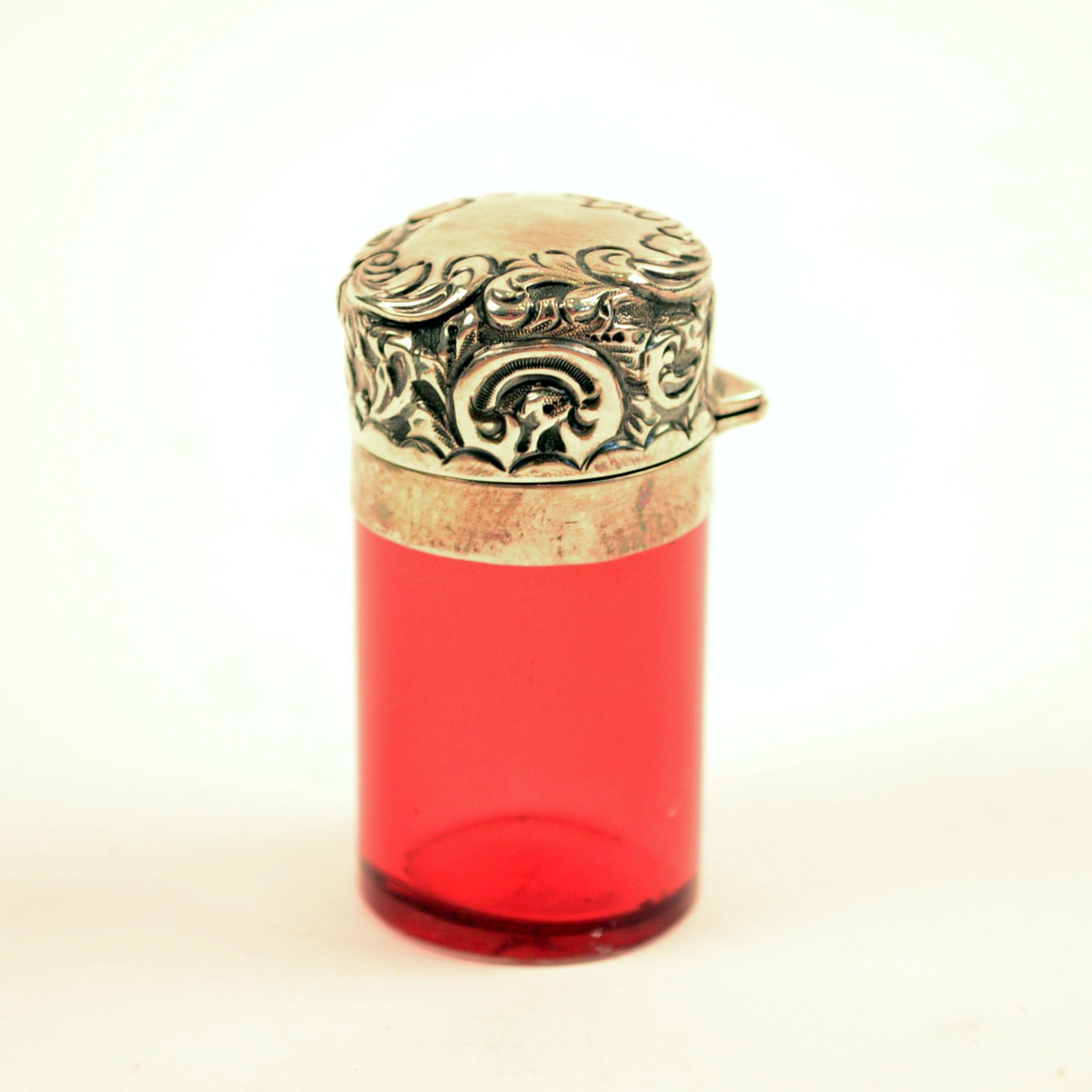 1897 Victorian Sterling Silver and Ruby Glass Smelling Salts Vial