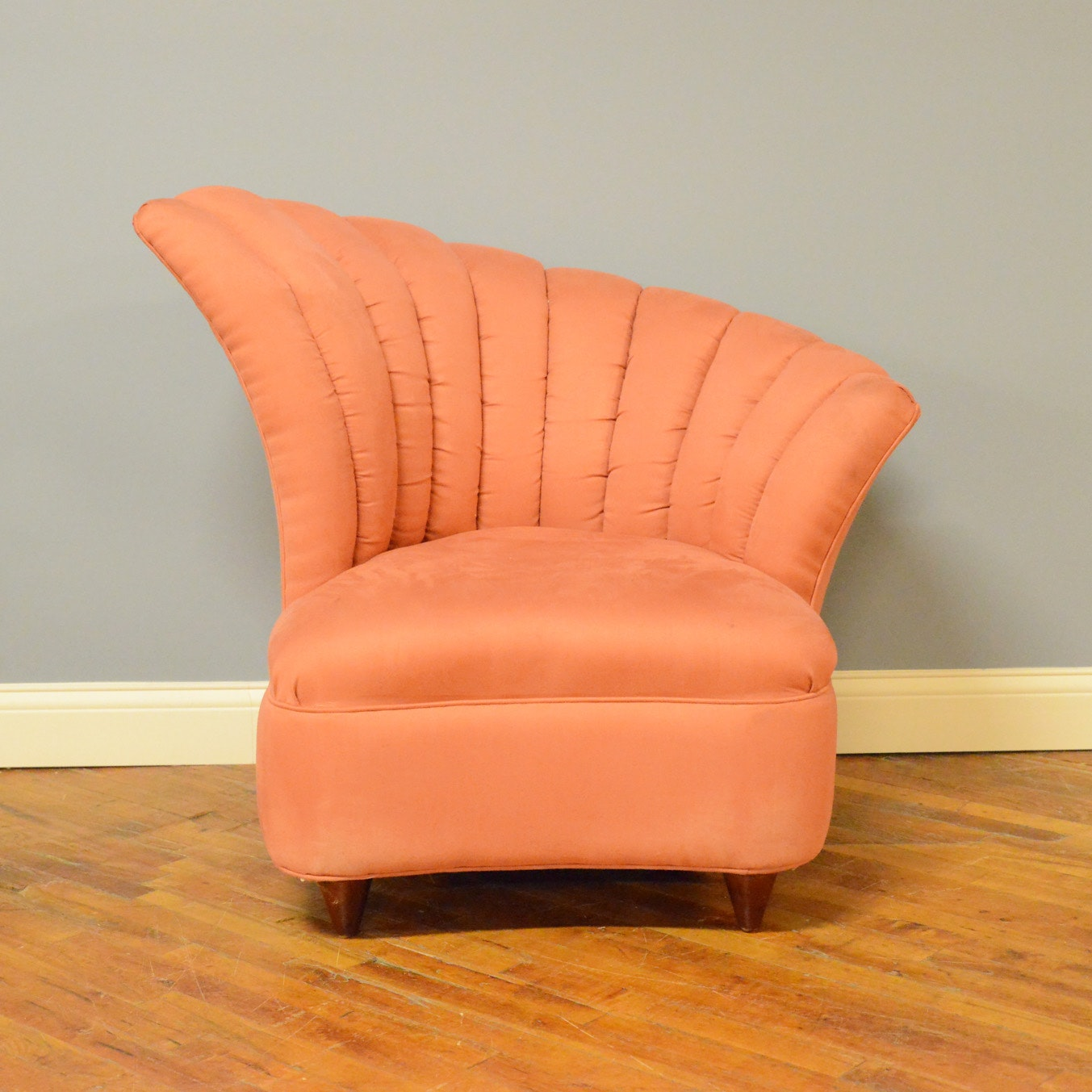 Excellent Vintage Asymmetrical Channel Back Pink Upholstered Chair : EBTH UB57