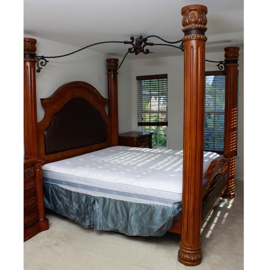 king size column canopy bed frame ebth. Black Bedroom Furniture Sets. Home Design Ideas