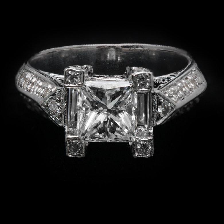 18K White Gold Princess Cut Diamond Ring