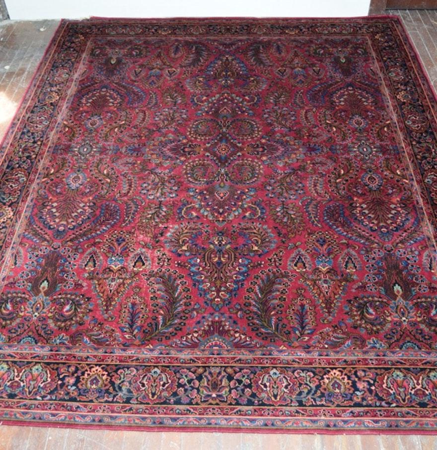 Large Vintage Karastan Sarouk Wool Area Rug : EBTH