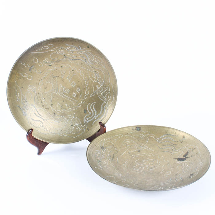 Pair of Etched Brass Decorative Plates