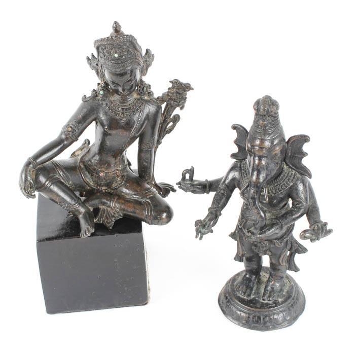 Pair of Bronze Hindu Deity Figurines