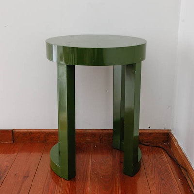 Round Olive Green Side Table