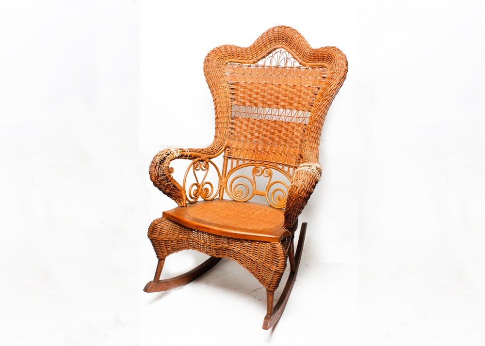 Vintage Heywood Brothers Wakefield Company Wicker Rocking Chair Ebth