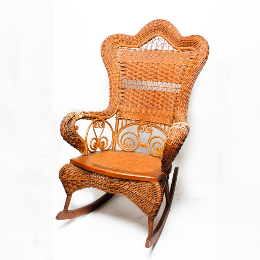 Cool Vintage Heywood Brothers Wakefield Company Wicker Rocking Chair Ncnpc Chair Design For Home Ncnpcorg