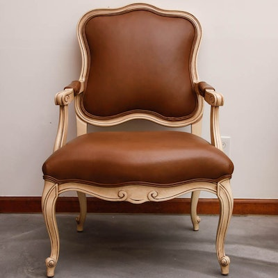 Tan Leather and Wood Armchair