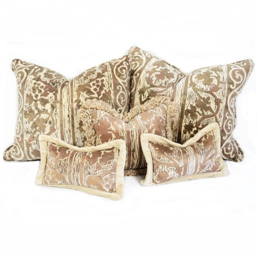 Five Coordinating Decorative Pillows In High End Designer Faux Bois Awesome Coordinating Decorative Pillows