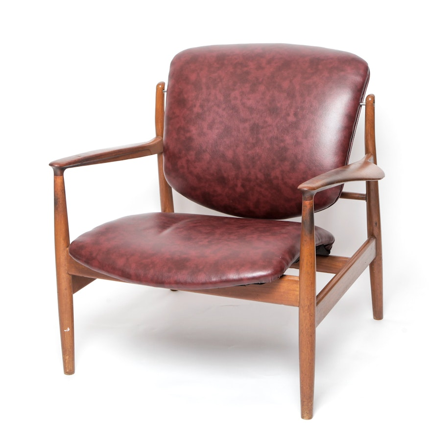 Finn Juhl Attributed Mid Century Modern Teak Upholstered Chair Ebth
