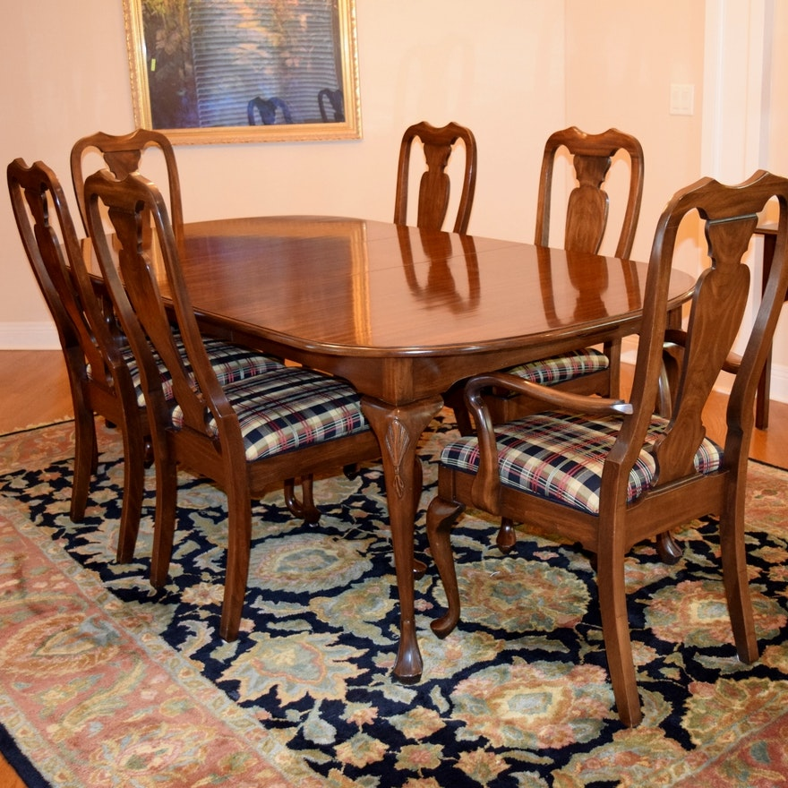 Harden Furniture Co Queen Anne Style Dining Room Table With Six Chairs