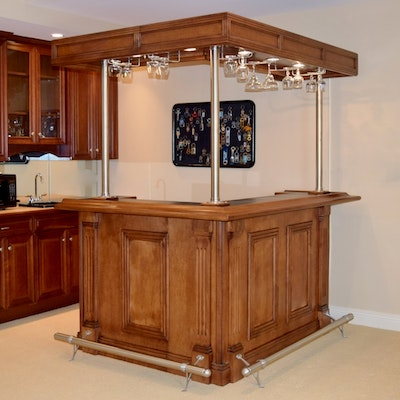 indoor l shaped bar unit with lighted canopy