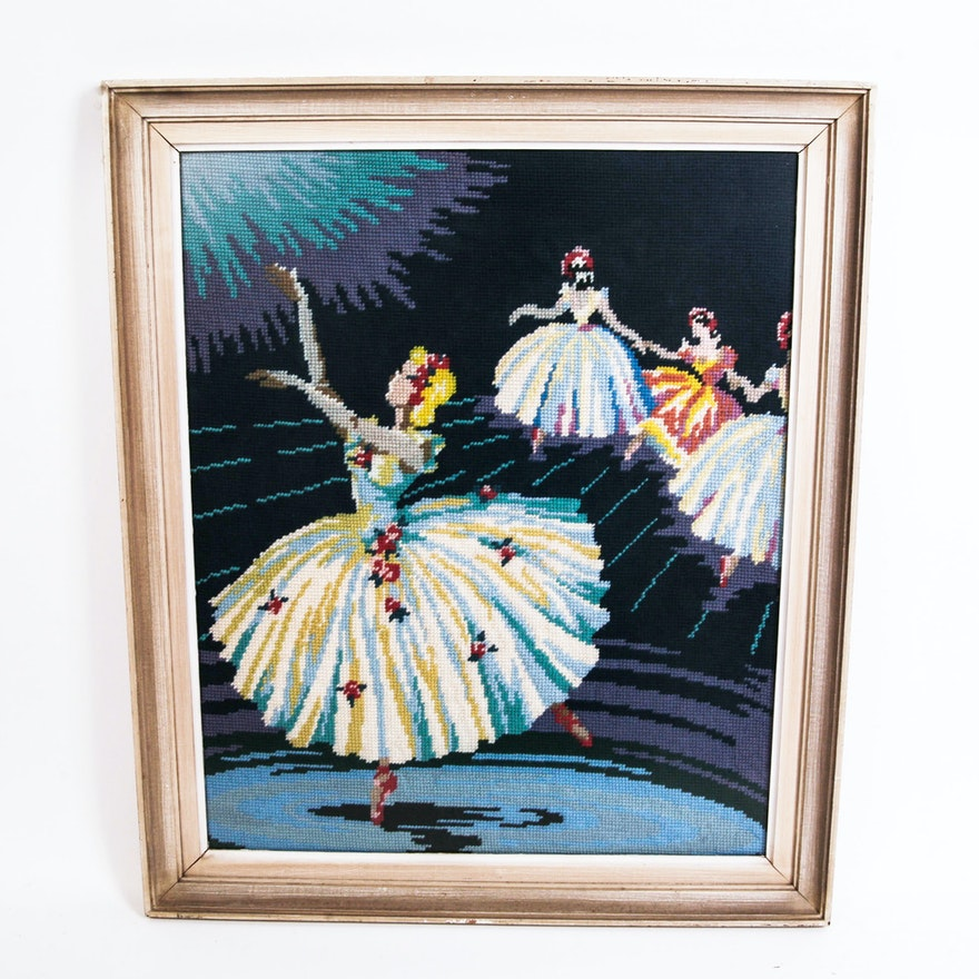 Framed Ballerina Needlepoint : EBTH