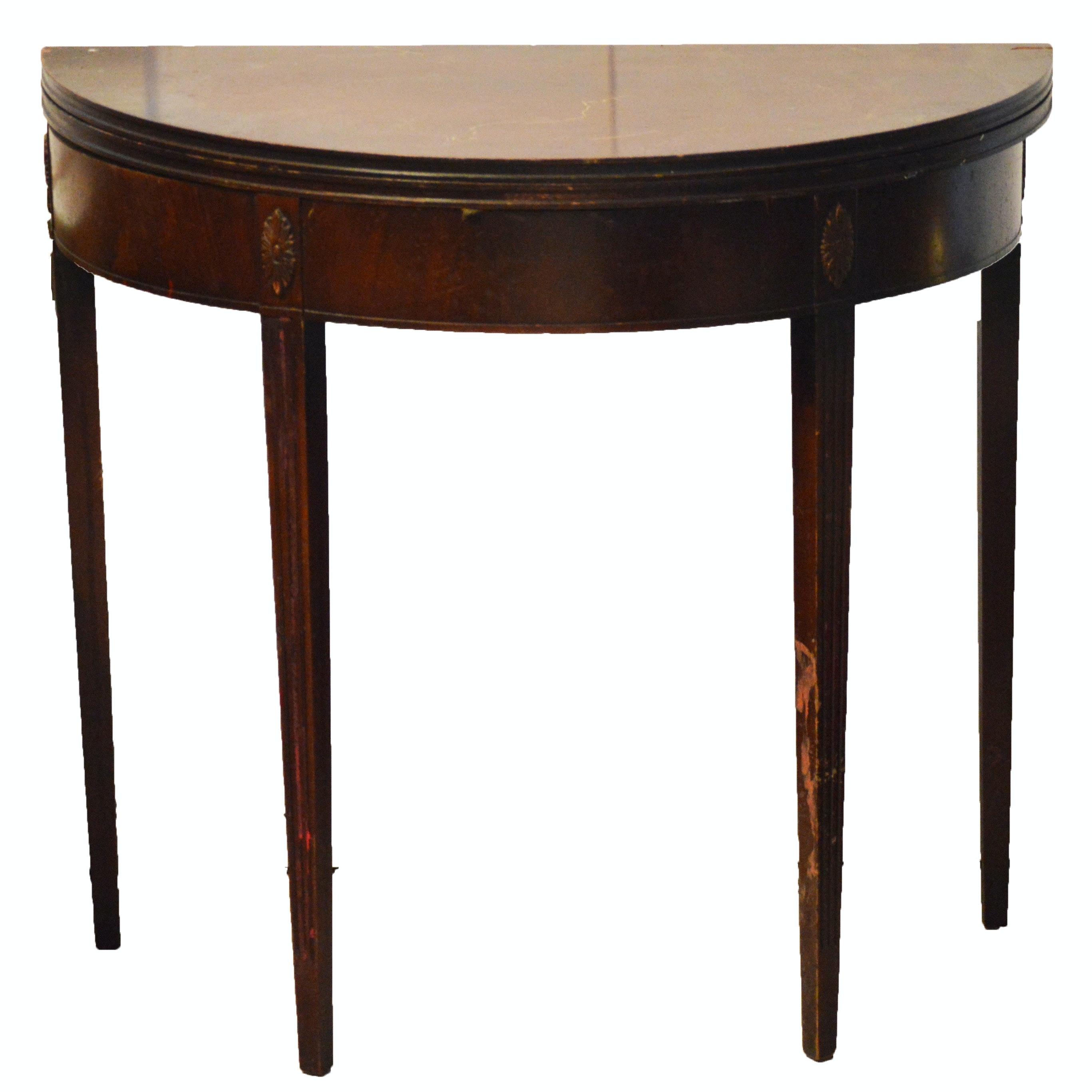 Ordinaire Half Circle Oak Federalist Hallway Table ...