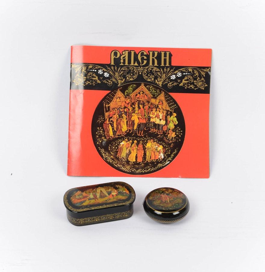 Paper Mache Black Lacquer Painted Trinket Box