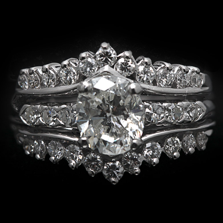 14K White Gold and Platinum Ring with 2.01 CT Diamond