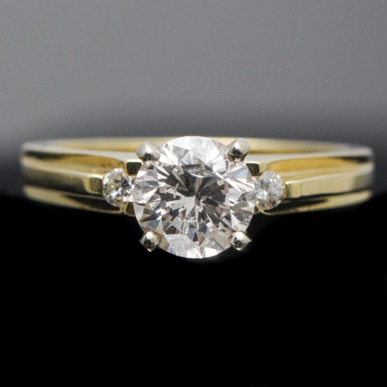 18K Yellow Gold Diamond Trinity Ring