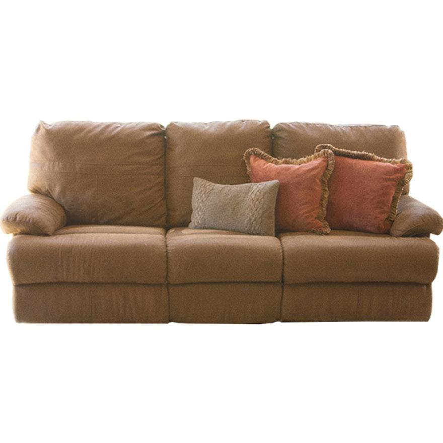 Brown Suede Reclining Sofa Ebth