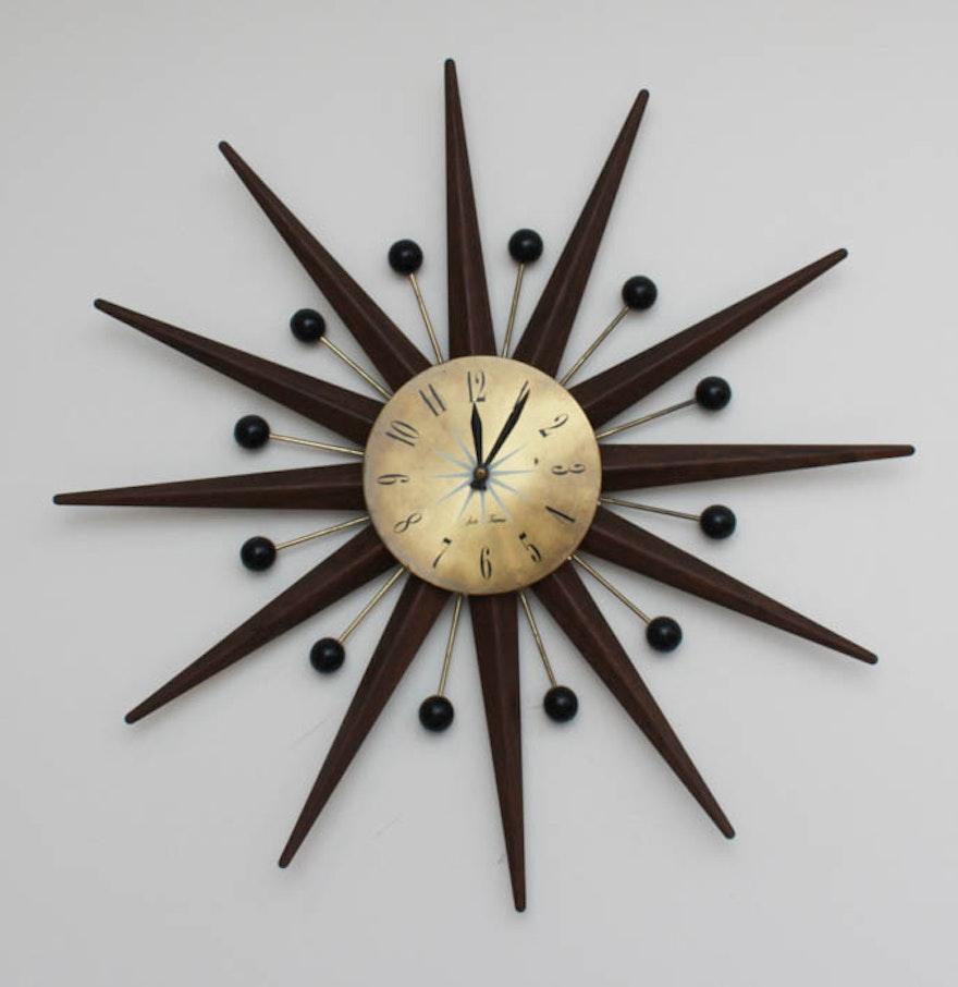 mid century modern seth thomas wall clock ebth